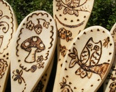 Woodburned WOODEN SPOON Cooking, Custom You Choose - Owl, Toadstool, Rooster Weathervane, Cupcake