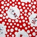 Olivia the Pig cotton fabric, Red, 1 yard