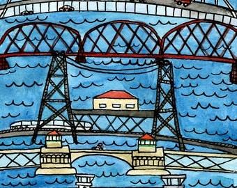 Portland Bridges 5x7 inch mini print