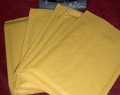 Five (5) size 0 6x10 inch kraft paper bubble mailers