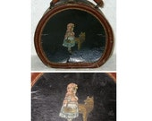 Antique Victorian Doll Case Little Red Riding Hood Big Bad Wolf TREASURY ITEM