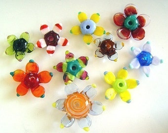 lampwork beads flowers made to order