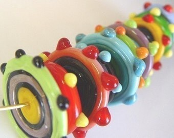 lampwork beads discs color explosion made to order