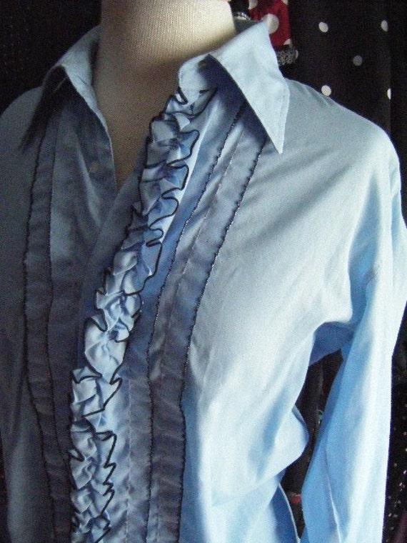 vintage powder blue tuxedo shirt 1970s
