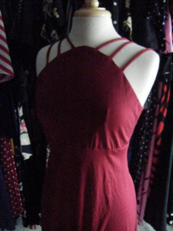 Vintage 1940s style Burgundy Red DRESS with straps