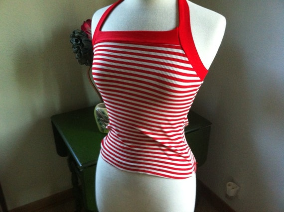 Vintage 1950s style Red and White Stripe Halter BLOUSE