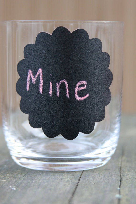 Chalkboard Round Scalloped Decals great for Wine glasses