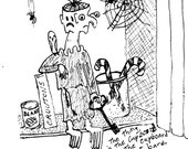 The Thing in the Cupboard Ink Drawing