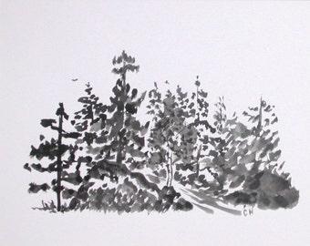 Brush Painting Evergreen Grove