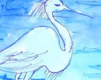 Egret in the Water ACEO