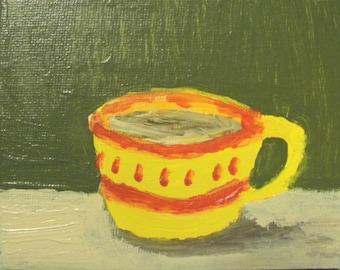 Yellow and Red Coffee Mug Original Arcylic