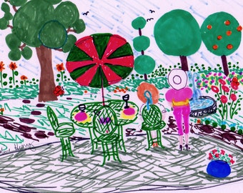 Garden Circles Original Drawing