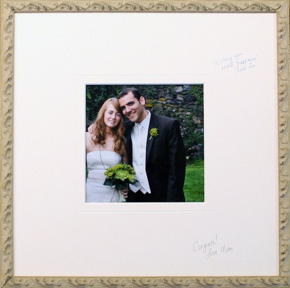 Wedding / Event Signature Photo Mat - Guest Book - bright white acid free - 20 x 24 - free archival pen
