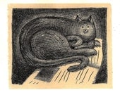 Cat on the News, Original Lithograph with Chine Colle