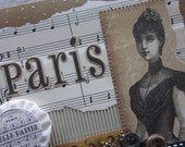 Greeting card paris style french vintage one of a kind blank  victorian woman