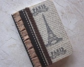 Paris journal note book french style one of a kind vintage ephemera eiffel tower