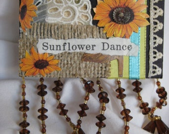 sunflower  aceo trading card mixed media collage
