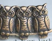 Owl Trio Ring Antique Brass Tone