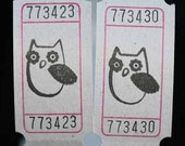 Vintage Style Hand Stamped Spooked Owl Carnival Tickets