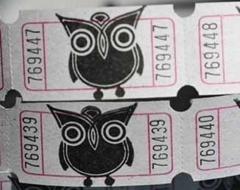 Vintage Style Hand Stamped Robot Owl Carnival Tickets