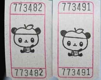Panda with an Apple Hat Vintage Style Hand Stamped Carnival Tickets