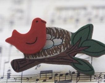 Nesting Bird Brooch