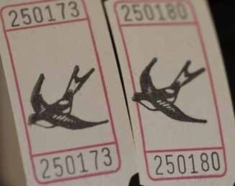 Flying Free Bird Vintage Style Hand Stamped Carnival Tickets