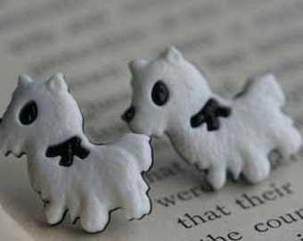 Sweet Puppy with Bow Stud Post Earrings