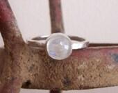 Sterling Silver Rainbow Moonstone Ring - Everyday Elegance - Custom order - sizes 4 to 12