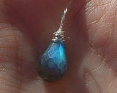 Labradorite Pendant Wrapped in Sterling Silver - Necklace