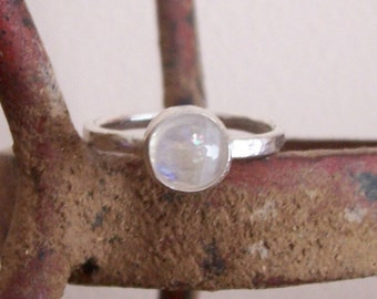 Sterling Silver Rainbow Moonstone Ring - Everyday Elegance - Custom order - sizes 4 to 12