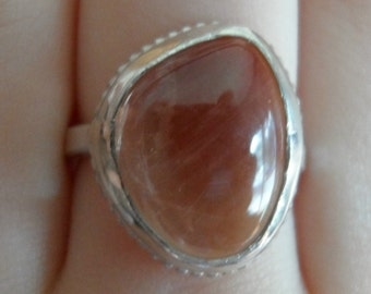 Coupon Code CLEARANCE40 - Sterling Silver Ring - Sunstone - Ready to ship - size 7 1/4