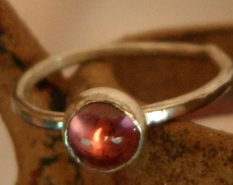 Pink Tourmaline and Sterling Silver Stacking Ring - Size 7 3/4