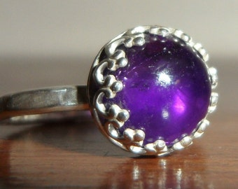 Metalsmithed Sterling Silver and Amethyst Ring - Custom Order -  size 4 to 12