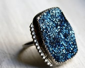 Big Bright Blue Drusy Ring with Beaded Accents