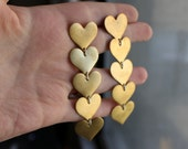 Long Brass Heart Dangles- Post Backs