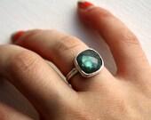 Bright Sterling Silver Labradorite Ring- Handmade by Rachel Pfeffer