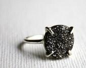 Sparkling Black Graphite Drusy in Handmade Prong Setting- Rachel Pfeffer
