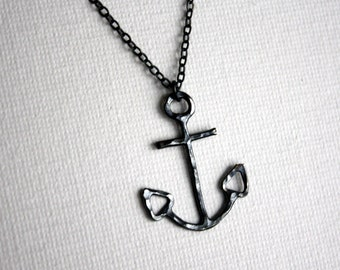 Oxidized Black Anchor Necklace- Handmade Sterling Silver