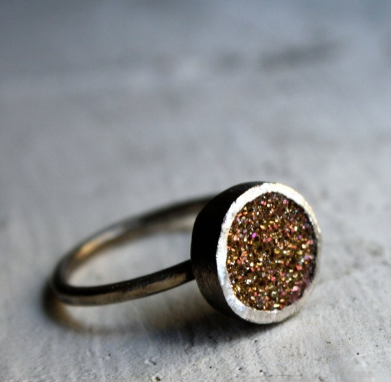 Burnt Orange Drusy  ring in Sterling Silver by Rachel Pfeffer