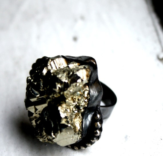 Black and Gold- Iron Pyrite in oxidized silver setting with beaded accents