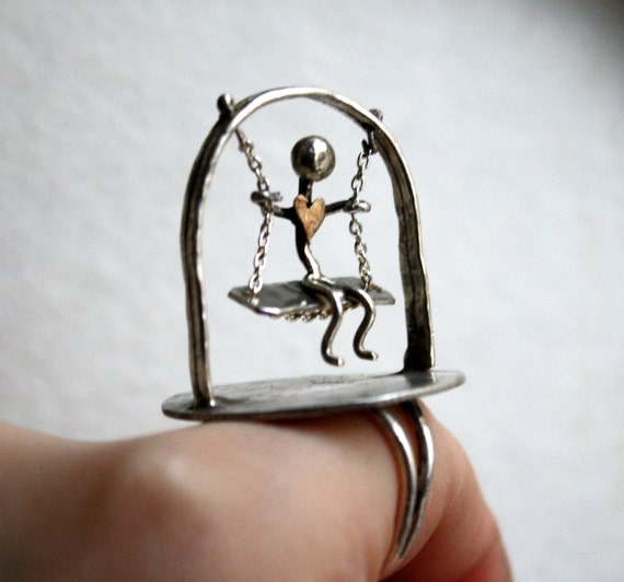 Swinging Man Ring II - Wearable Sculpture
