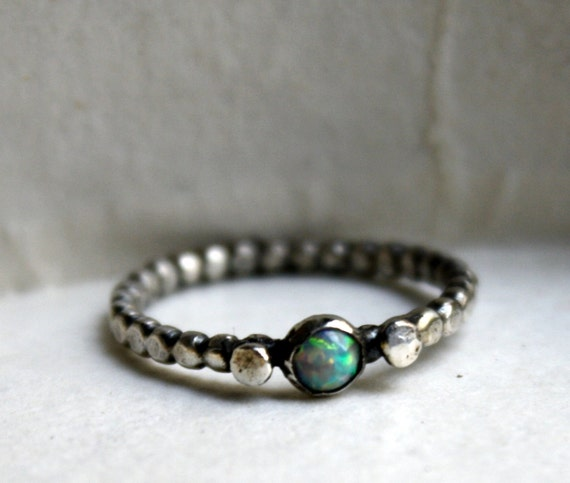 RESERVED Sterling Silver Opal Band