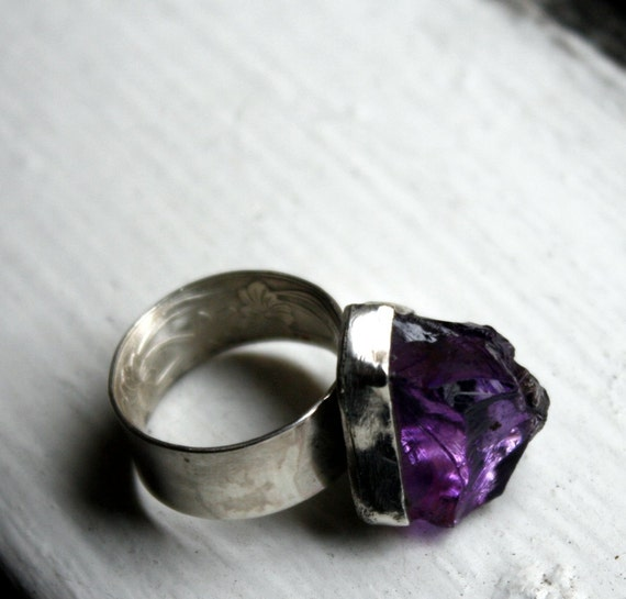 Sized to Fit- Amethyst Jollyrancher Ring- Sterling Silver with raw brazilian amethyst