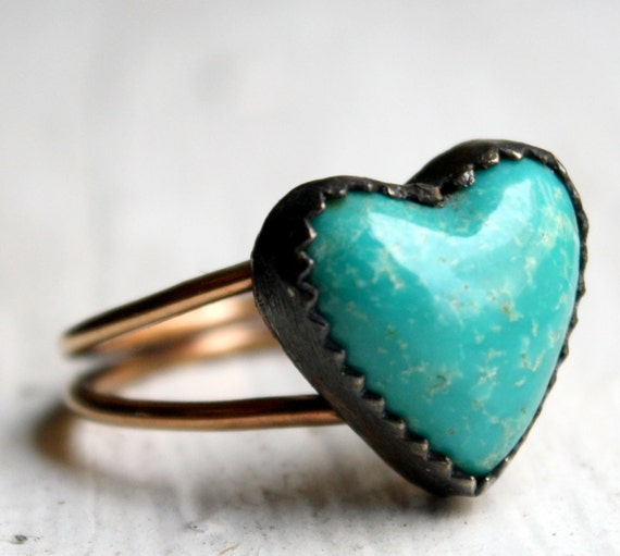 Turquoise Heart Ring- Oxidized Sterling Silver and 14k Gold Filled Band