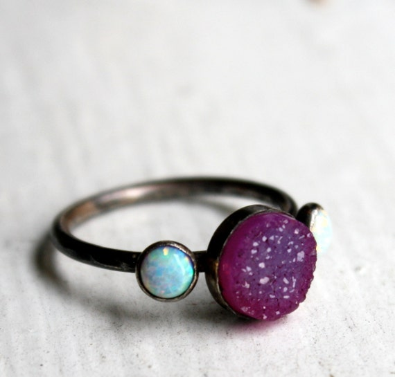 Pink Drusy ring with Opals