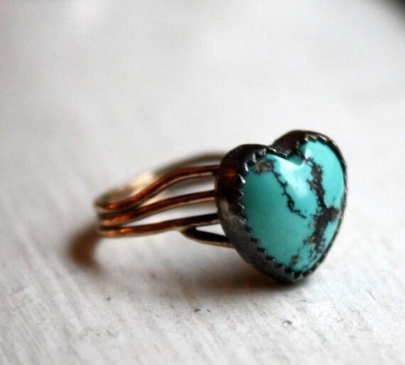 Turquoise Heart Nest Ring