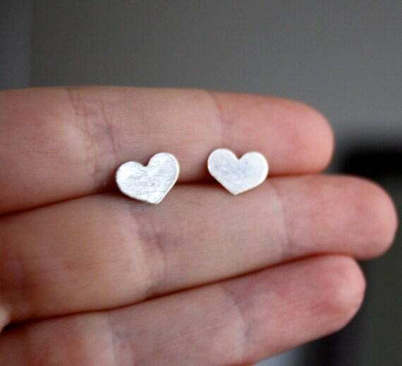 Dreamy Silver Heart Studs- Small