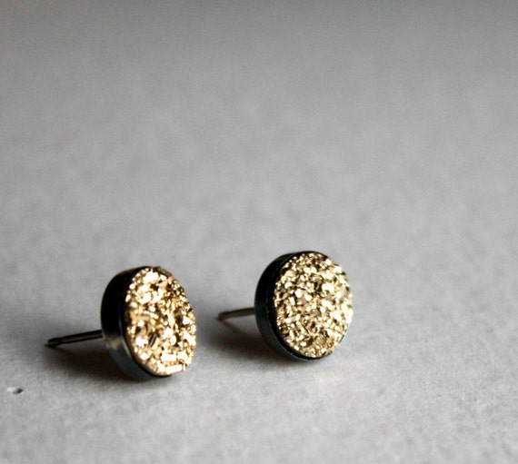Gold Drusy Studs- Sterling Silver Oxidized Stud Earrings Handmade
