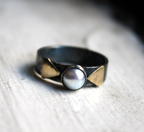 Pearl and Triangles Ring- Handmade by Rachel Pfeffer